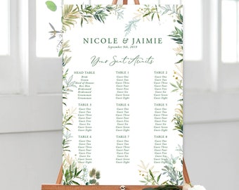 Seating Chart/Design & Printing or Printable File - Shades of Green (Style 13946)