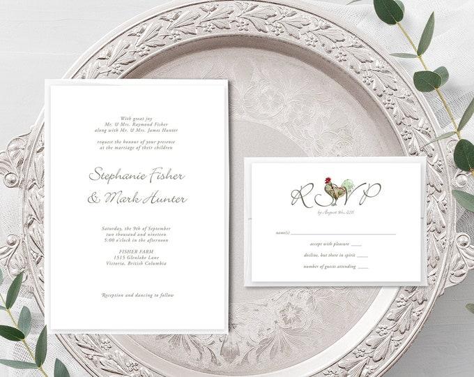 Farm Vintage (Style 13344) - Wedding Invitation + RSVP