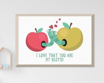 Child's Room/Nursery Art: Love & Friendship (Style 14021)