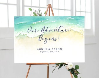 Reception Sign/Our Adventure Begins - Tropical Breeze (Style 13836)