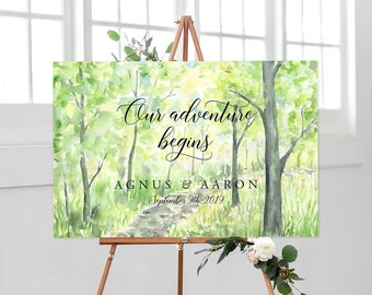 Reception Sign/Our Adventure Begins - Watercolour Landscape (13938-2)