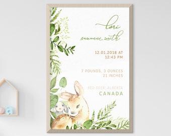 Child's Nursery Art - Birth Poster: Woodland Friends (Style 14016)