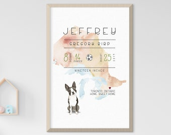 Child's Nursery Art - Birth Poster: Home, Sweet Home (Style 14030)