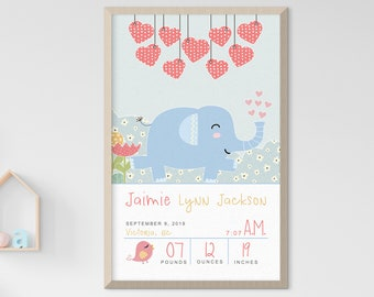 Child's Nursery Art - Birth Poster: Elephant Parade (Style 14011)