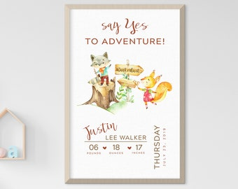 Child's Nursery Art - Birth Poster: Say Yes to Adventure (Style 14031)