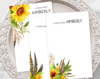 Personalized Note Cards - Boho & Sunflowers (NC02)