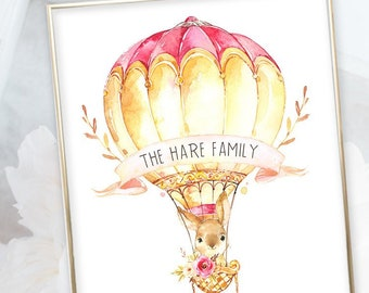 Birth Poster (Baby Stats) - Hot Air Balloon (W00056)