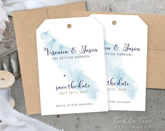Save the Date Luggage Tags - Wanderlust - Vancouver Island, Destination Wedding (Style 13839)