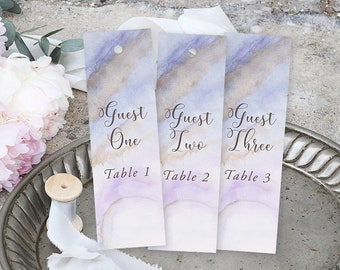 Bookmark Favours, Seating Cards, Escort Cards - Purple & Lilac, Precious Stone