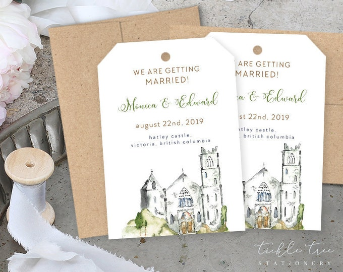 Save the Date Luggage Tags - Wedding at the Castle (Style 13841)