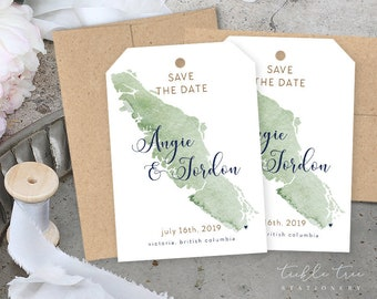 Save the Date Luggage Tags - Wanderlust - Vancouver Island, Destination Wedding (Style 13840)
