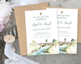 Save the Date Luggage Tags - Wedding in the Park (Style 13842)