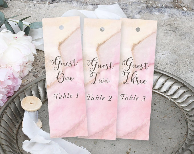 Bookmark Favours, Seating Cards, Escort Cards - Rose Gold, Precious Stone