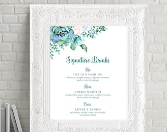 Reception Signs/Signature Drinks - Teal Garden (Style 13744)