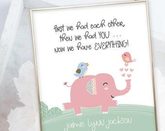 Birth Poster (Baby Stats) - Elephant Parade (W00051)