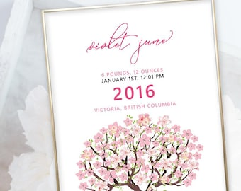 Birth Poster (Baby Stats) - Cherry Blossom Tree (W00023)