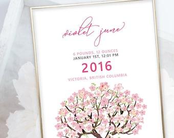 Birth Poster (Baby Stats) - Cherry Blossom Tree (W00023)