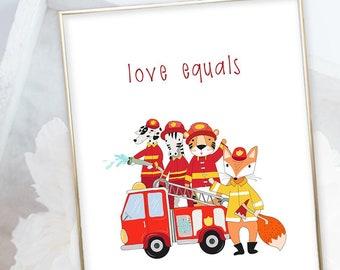 Kid's Wall Art - Firefighter Friendship & Love (W00008)