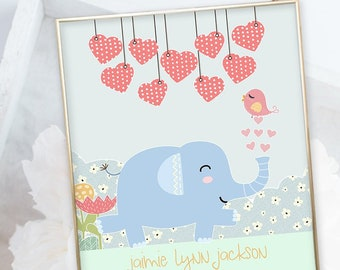 Birth Poster (Baby Stats) - Elephant Parade (W00050)