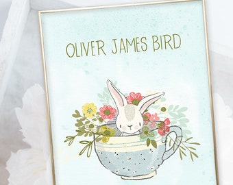 Birth Poster (Baby Stats) - Baby Bunny & Tea Cup (W00048)