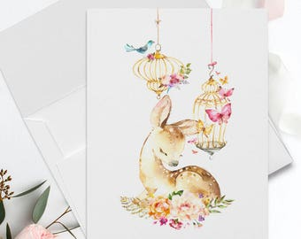 Folded Thank You Note Cards - Romantic Bird Cage and Baby Deer-8