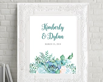 Reception Signs/Our Wedding Day - Teal Garden (Style 13744)