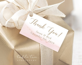 Favour Tags, Gift Tags - Modern and Subtle Golds & Pinks (Style 13844)