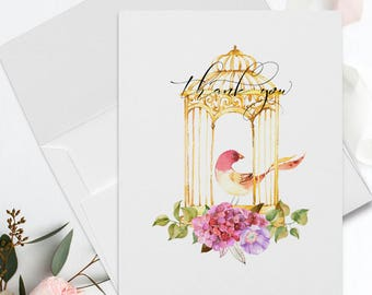 Thank You Cards - Romantic Bird Cage-5