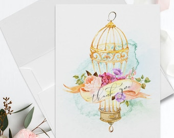 Folded Thank You Note Cards - Romantic Bird Cage-6