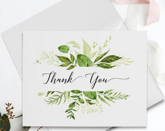 Folded Thank You Note Cards - Botanical Greenery-6