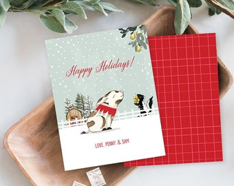 Holiday Note Card Set - Pearl's Christmas, Pig Illustration (HC18)