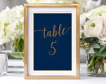 Printable Table Numbers - Navy & Gold (Style 13804)