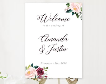 Welcome Sign - Burgundy & Blush (Style 13853)
