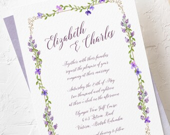 Wedding Invitations - Purple Garden (Style 13669)