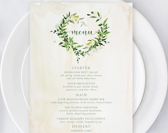 Printable Menu - Green Foliage & Watercolours (Style 13828)