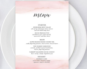 Printable Menu - Modern and Subtle Golds & Pinks (Style 13844)
