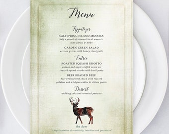 Printable Menu - Woodlands Wedding (Style 13768)