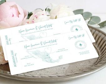 Boarding Ticket Wedding Invitations/Design & Printing - Wanderlust - Destination Wedding (Style 13884)