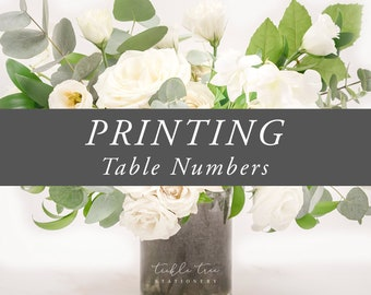 Printing Services - Table Number Cards