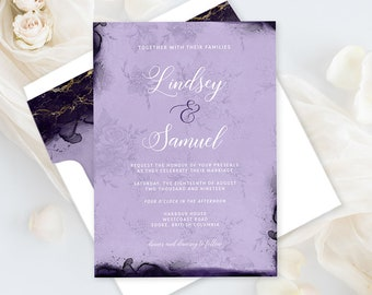 Printable Wedding Stationery - Opulent Violet (Style 13854)