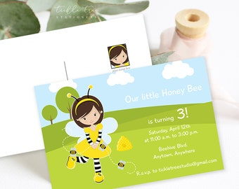 Birthday Party Invitation Postcards - Our Little Honey Bee (Style 13375)