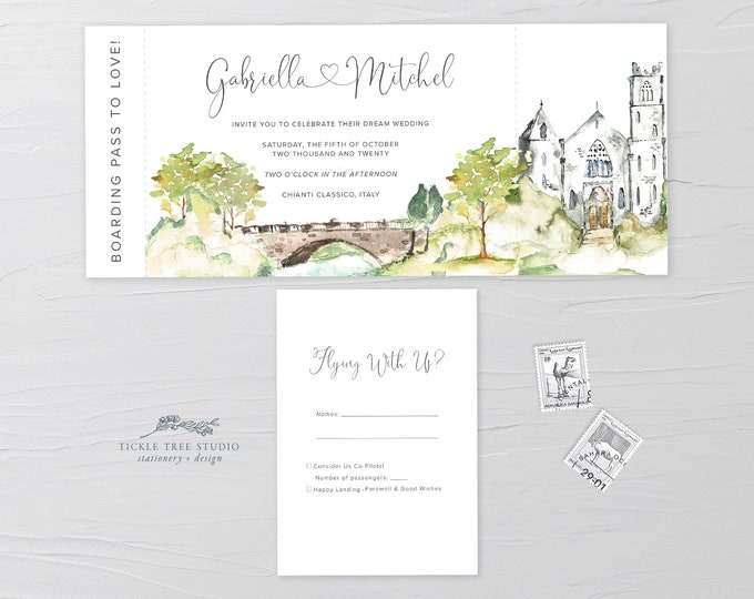 Wanderlust/Come Fly with Us - Ticket Invitation + RSVP (Style 13960)