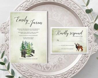 Rustic Woods (Style 13768) - Wedding Invitation + RSVP