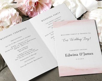 Wedding Programs - Modern and Subtle Golds & Pinks (Style 13844)