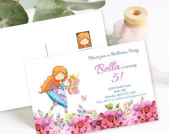 Birthday Party Invitation Postcards - Ballerina Party (Style 13392)