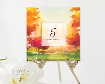 Table Number Cards - Falling for Love (Style 13562)