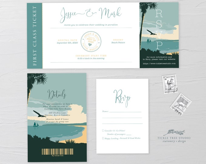 Wanderlust/Come Fly with Us - Ticket Invitation + RSVP + Insert (Style 13914)