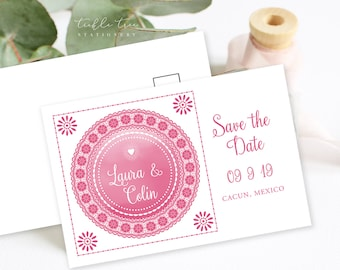 Save the Date Postcards - Papel Picado (Style 13647)