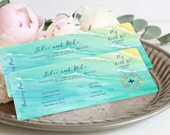 Boarding Ticket Wedding Invitations/Design & Printing - Wanderlust - Tropical Breeze (Style 13836)