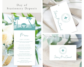 Come Fly with Us Destination Wedding (Style 13884) - Day of Stationery Deposit Add On